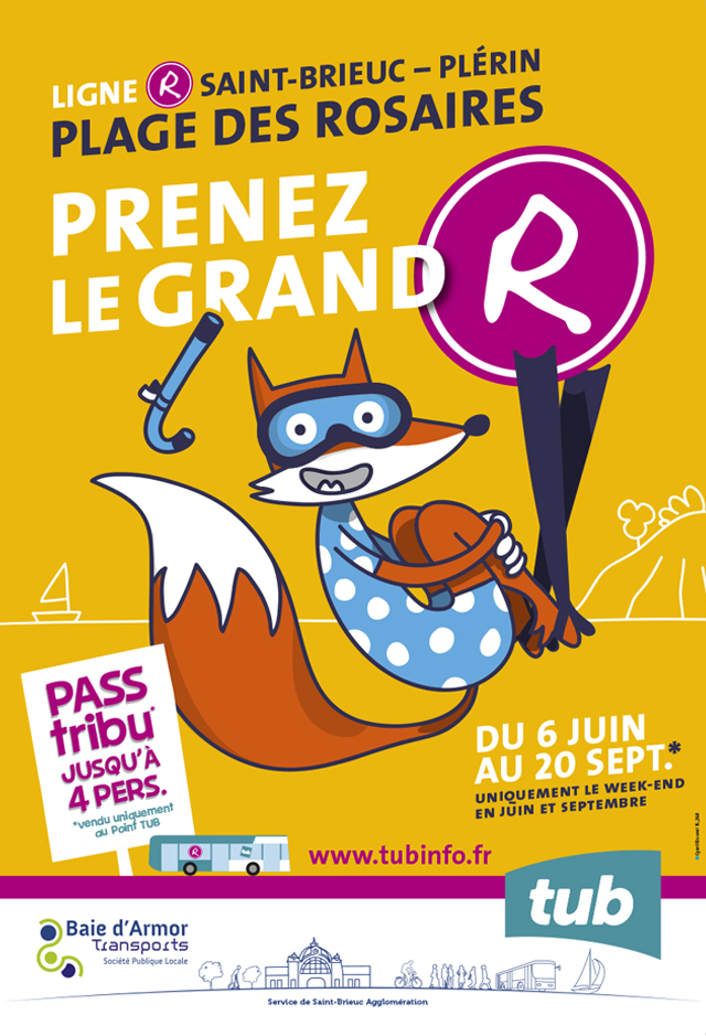 Baie d'Armor Transport TUB —ligne R — campagne d'affichage
