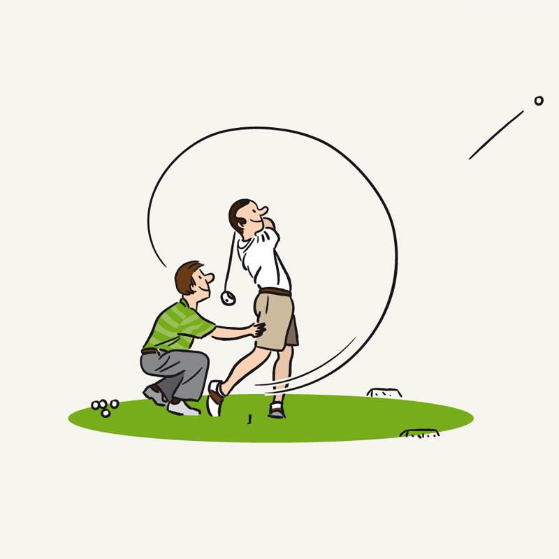 Blue Green Plaquette Bien débuter au golf — illustration