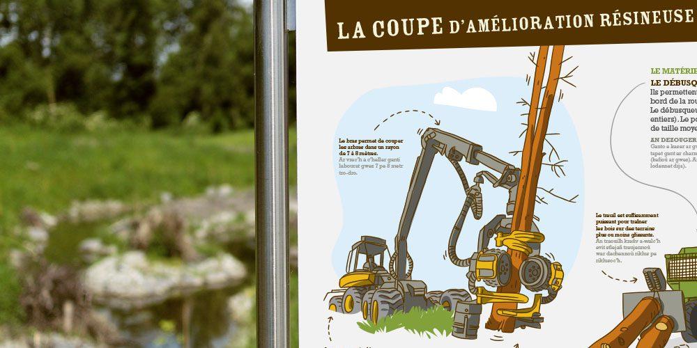 Conseil départemental des côtes d'armor Sentier découverte — forêt d'Avaugour — panneau didactique