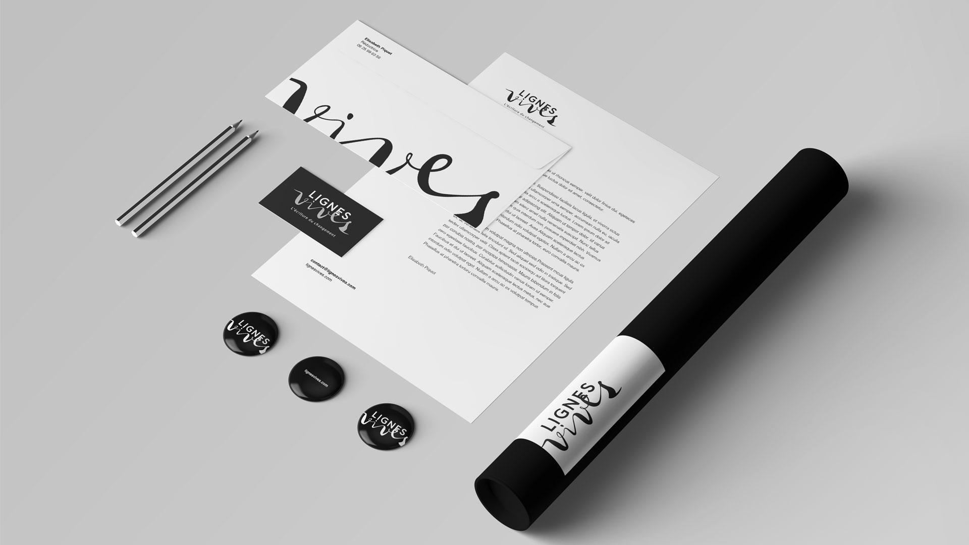 Lignes Vives Identite Visuelle Logo Papeterie