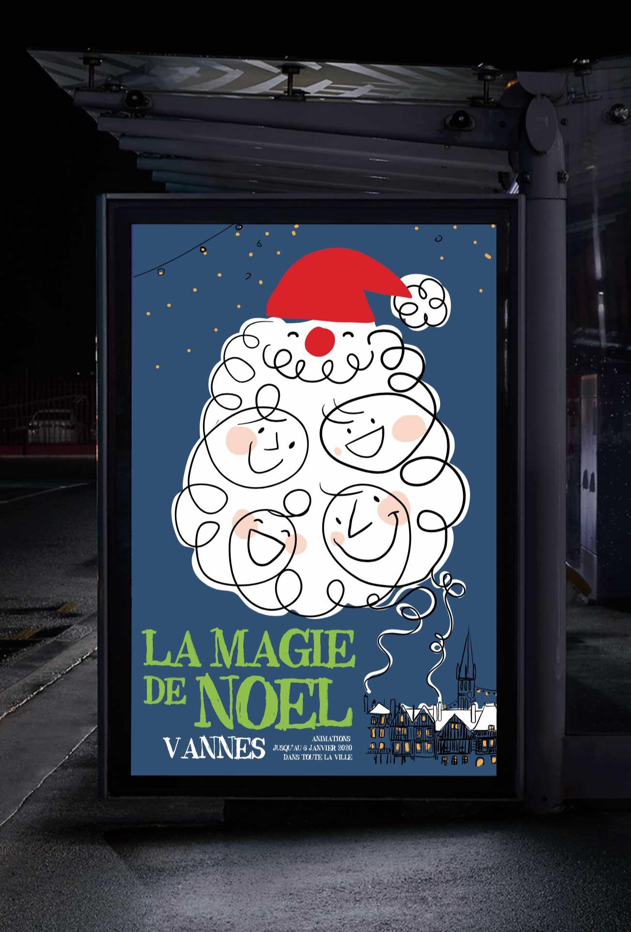 Ville Vannes Marche De Noel Affiche Projet