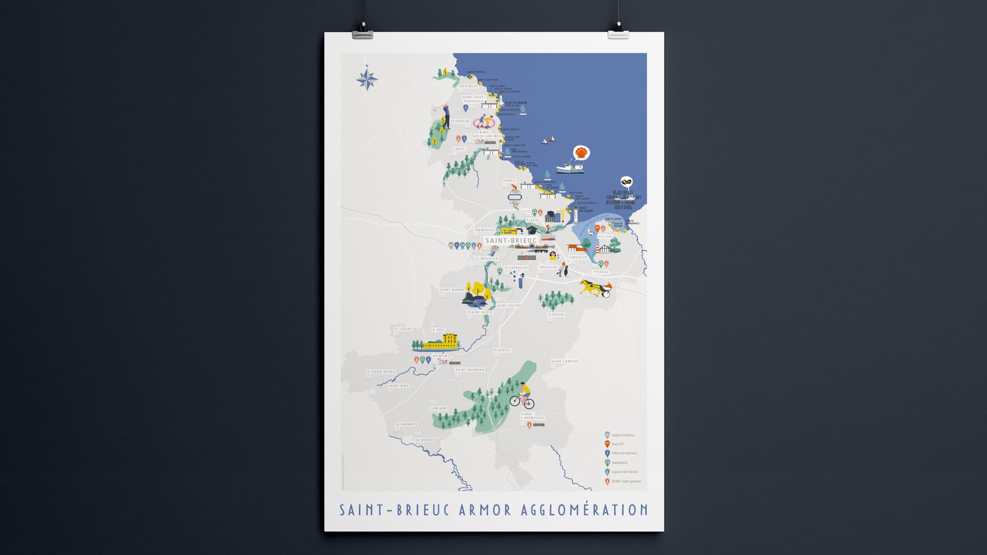 agglomeration-ville-saint-brieuc-cotes-armor-tourisme-mer-carte-map-affiche-illustration