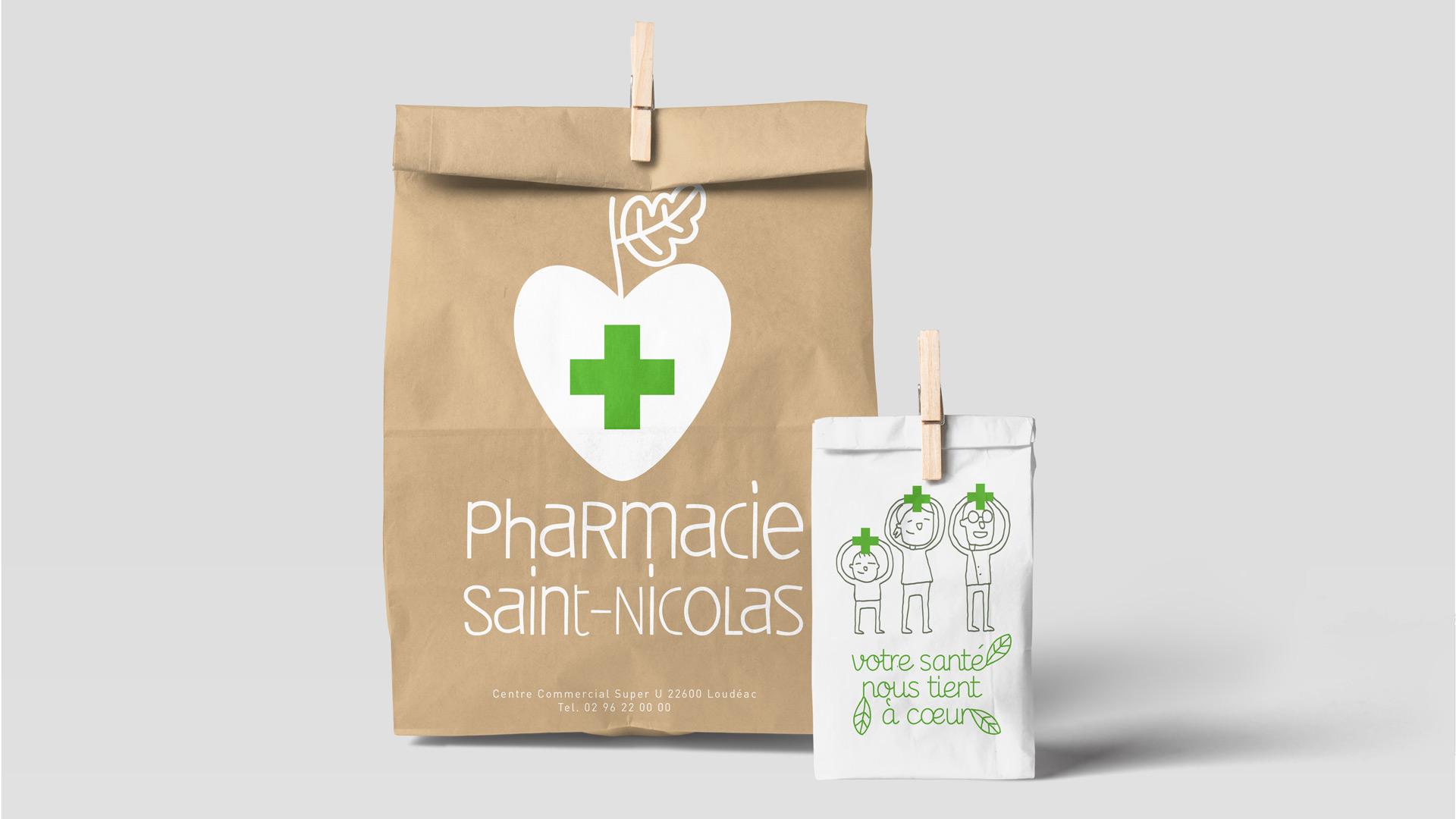 Pharmacie Saint Nicolas Identite Visuelle Logo Sacherie Sac Medicament 2