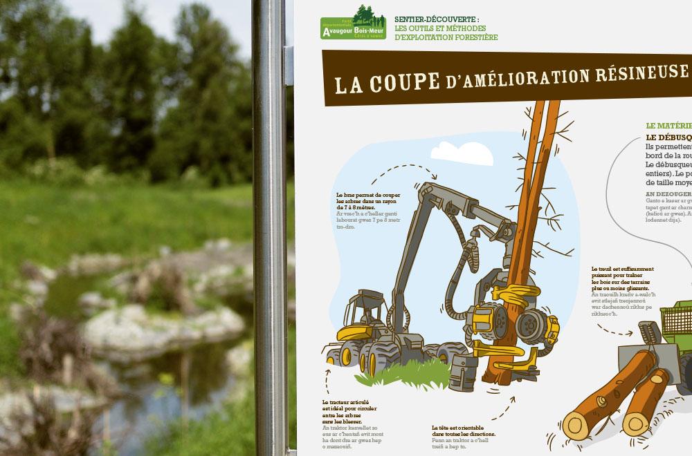 Conseil départemental des Côtes d'Armor Exposition sentier découverte — la gestion de la forêt